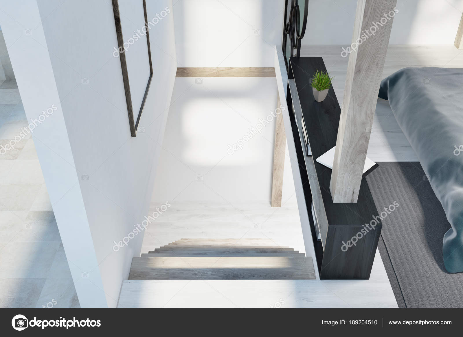 Attic Bedroom Interior With White Walls Windows In The Roof A Double Bed And Bookshelf Top View Of Stairs Poster On Wall