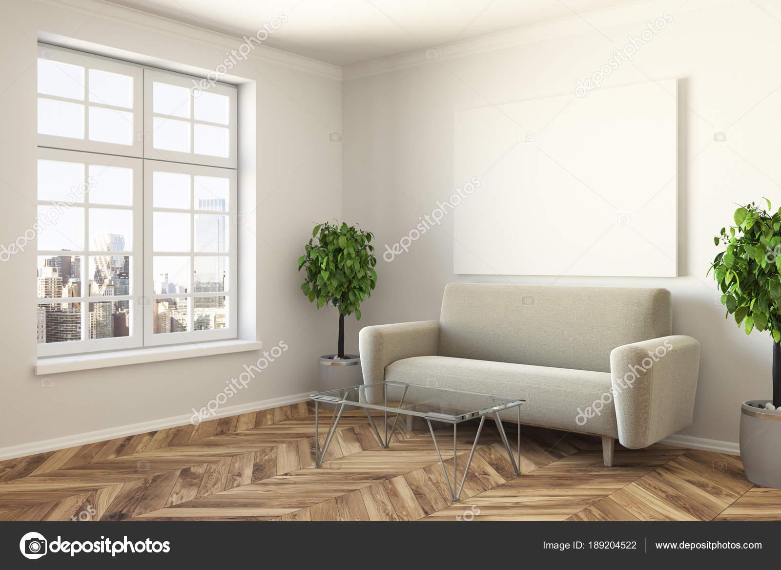 Moderne Wohnzimmer Ecke, Sofa und poster — Stockfoto ...