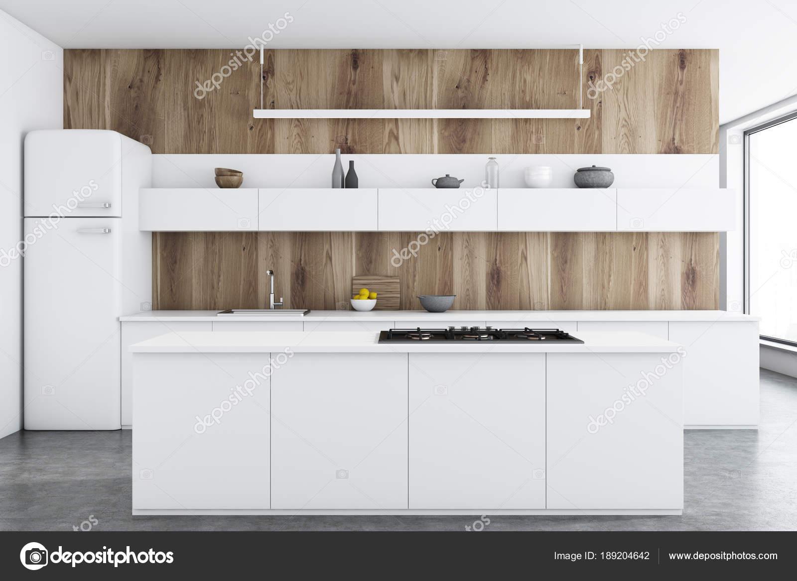 Küche aus Holz, weiße Theken, bar — Stockfoto © denisismagilov ...