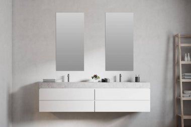 Marble double bathroom sink, vertical mirrors