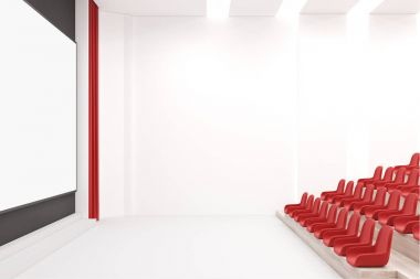 Modern cinema interior with white walls, red seats and a large screen mock up. A side view. 3d rendering stock vector