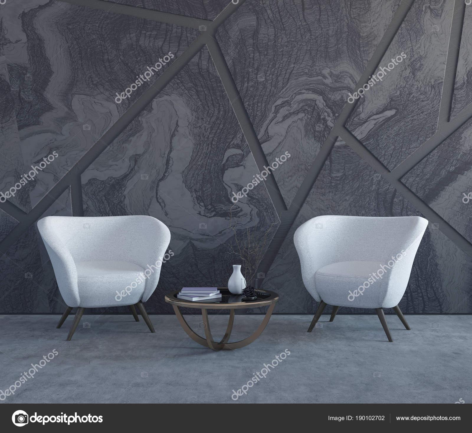 Grauer Marmor Wohnzimmer Weiße Sessel Stockfoto Denisismagilov