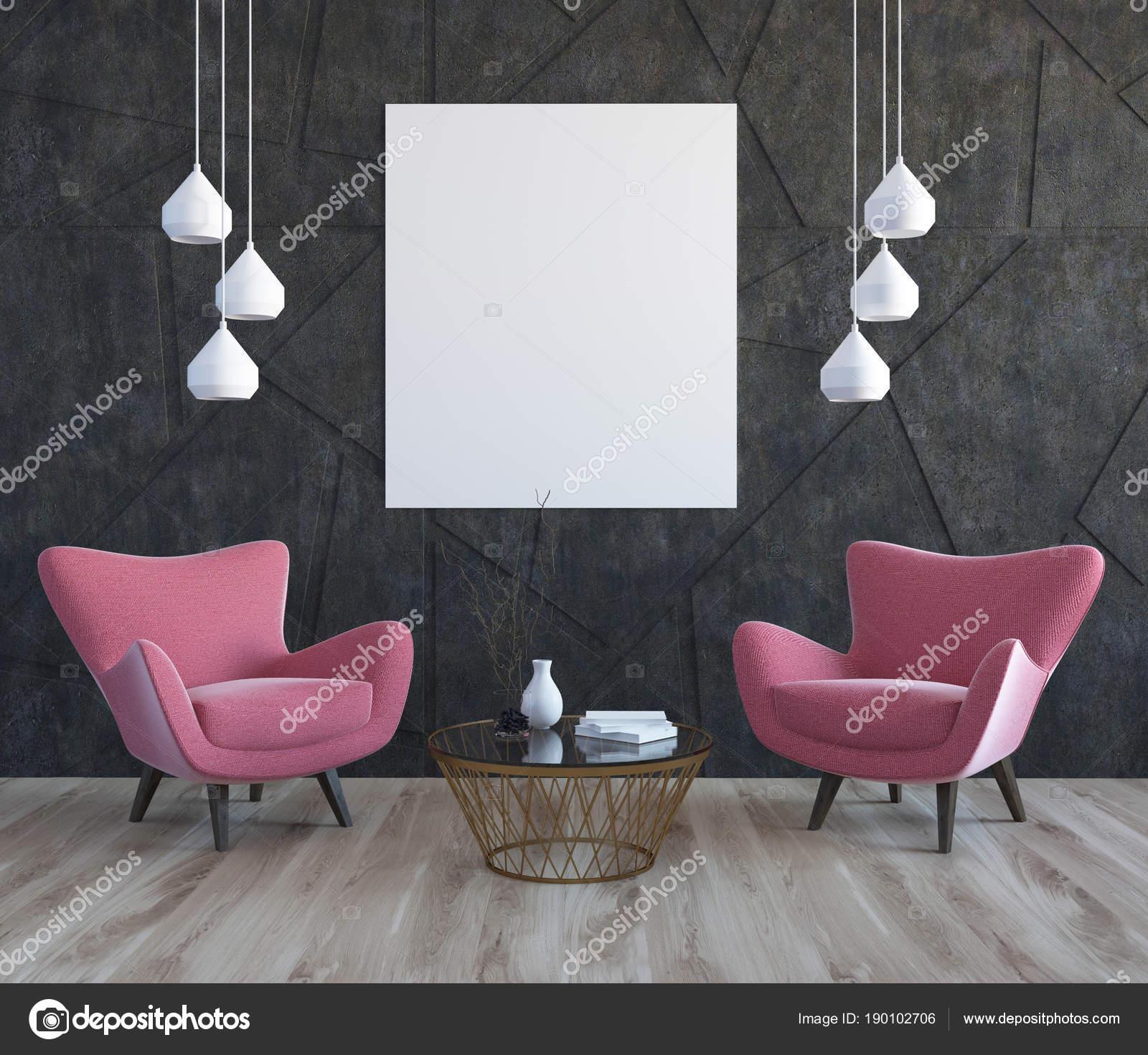 Graue Wohnzimmer, rosa Sessel, Plakat — Stockfoto © denisismagilov ...