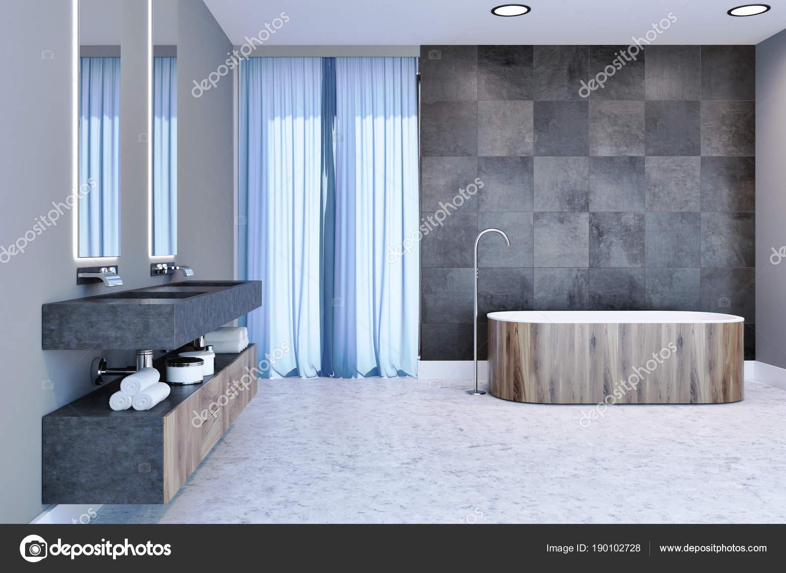 Vasca di bagno moderno grigio interni in legno u foto stock
