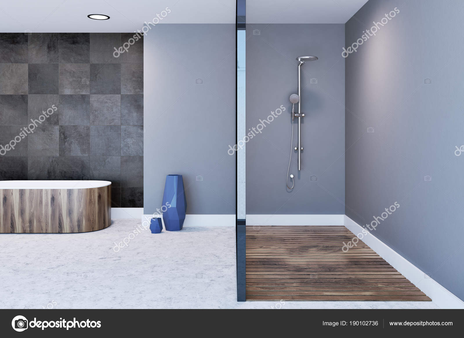 Gray bathroom interior, shower stall and bathtub — Stock Photo ...