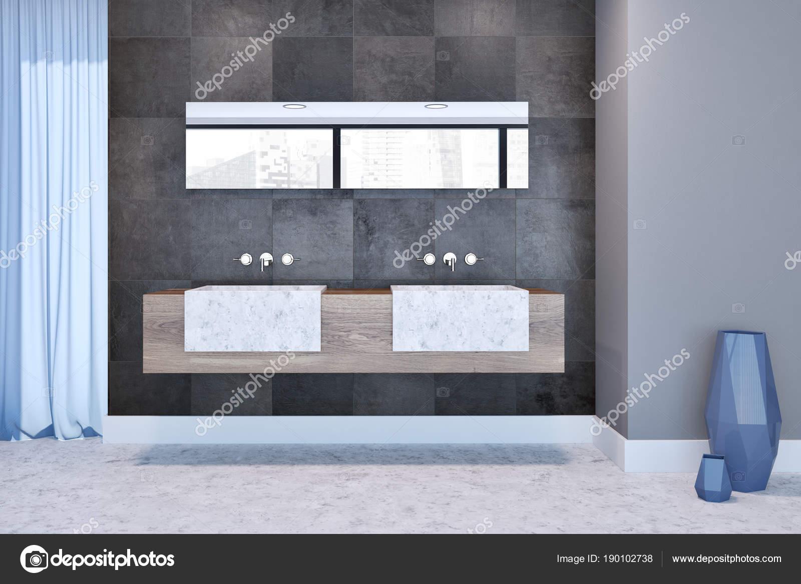 Graue Fliesen Badezimmer Interieur, Doppel Waschbecken U2014 Stockfoto