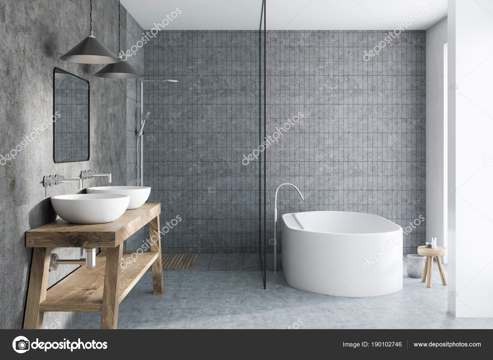 Grigio piastrelle bagno interni u foto stock denisismagilov