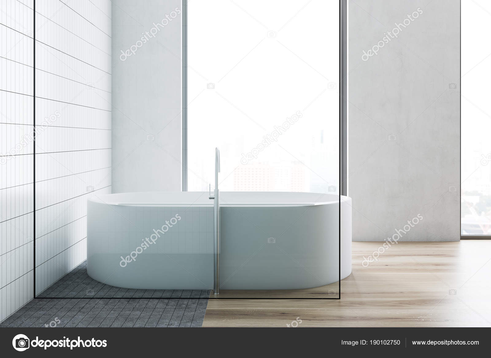 White tile bathroom interior, white tub — Stock Photo ...