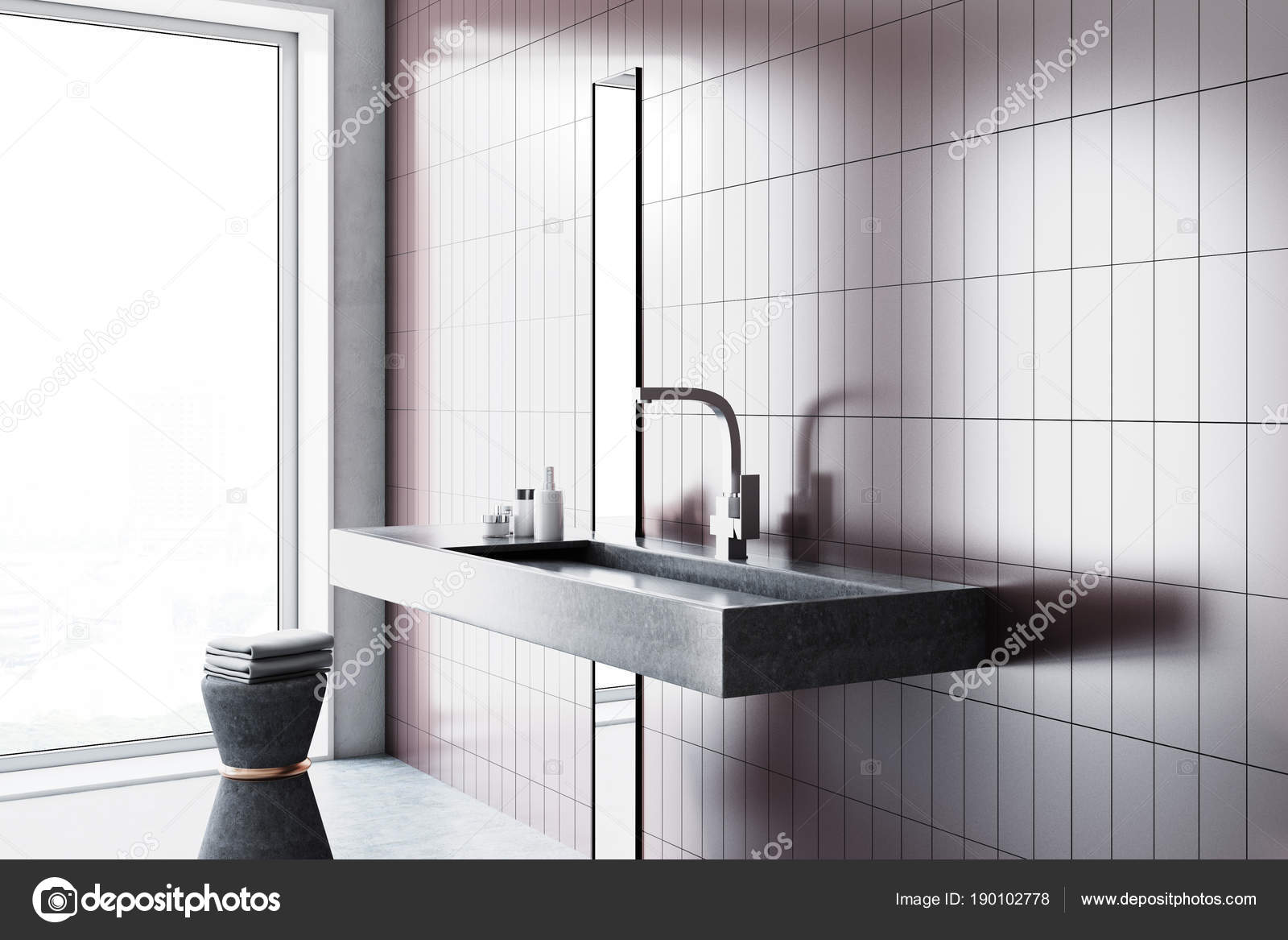 Sink in a beige bathroom interior, side view — Stock Photo ...