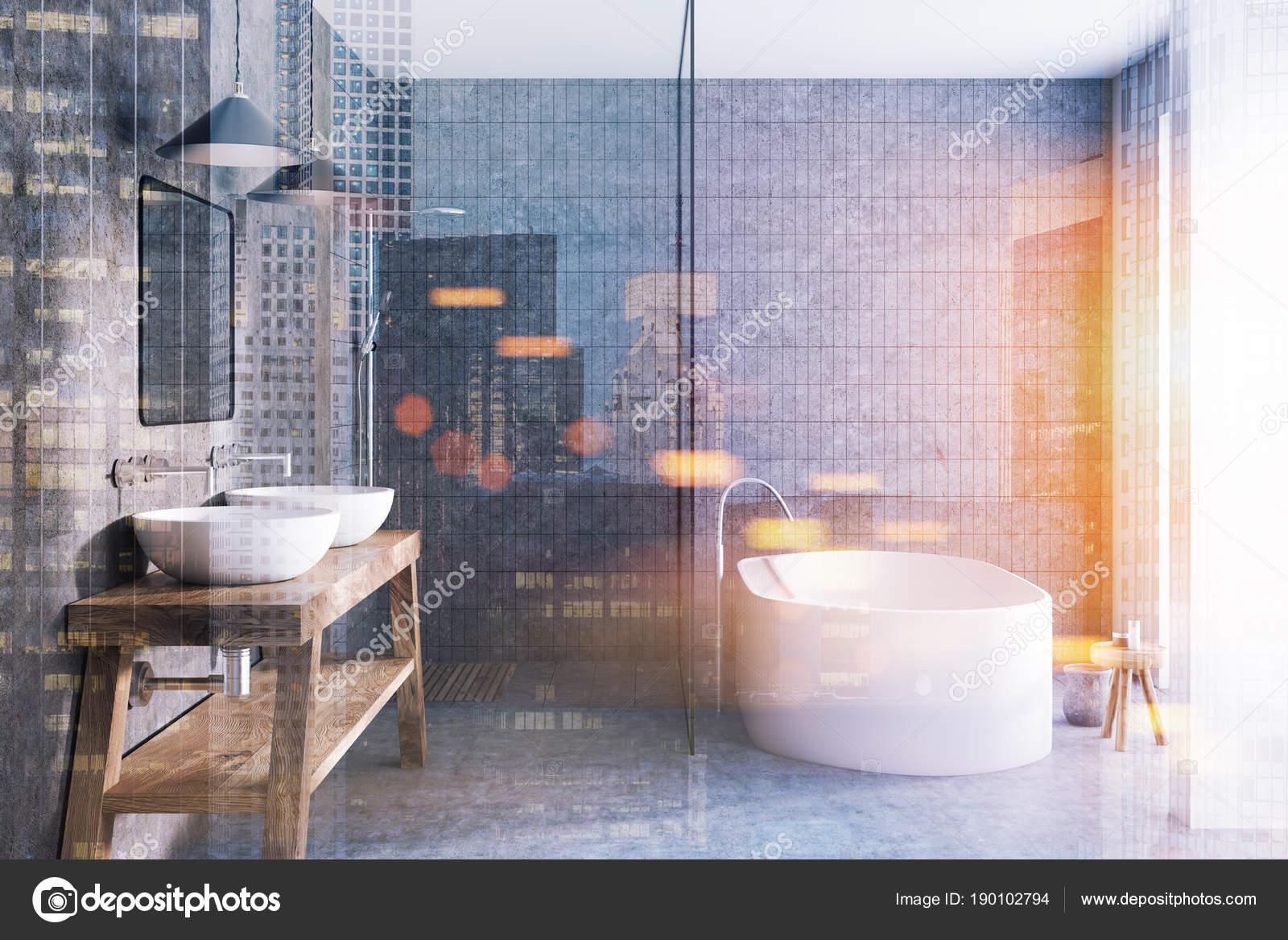 Hellgrauen Fliesen Badezimmer Interieur Getont Stockfoto