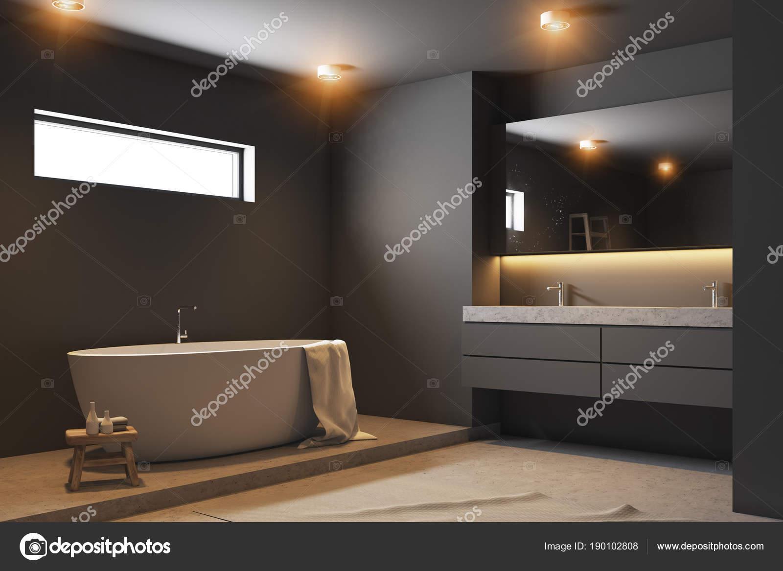 Baignoire de coin, blanc de salle de bain gris foncé, bois ...