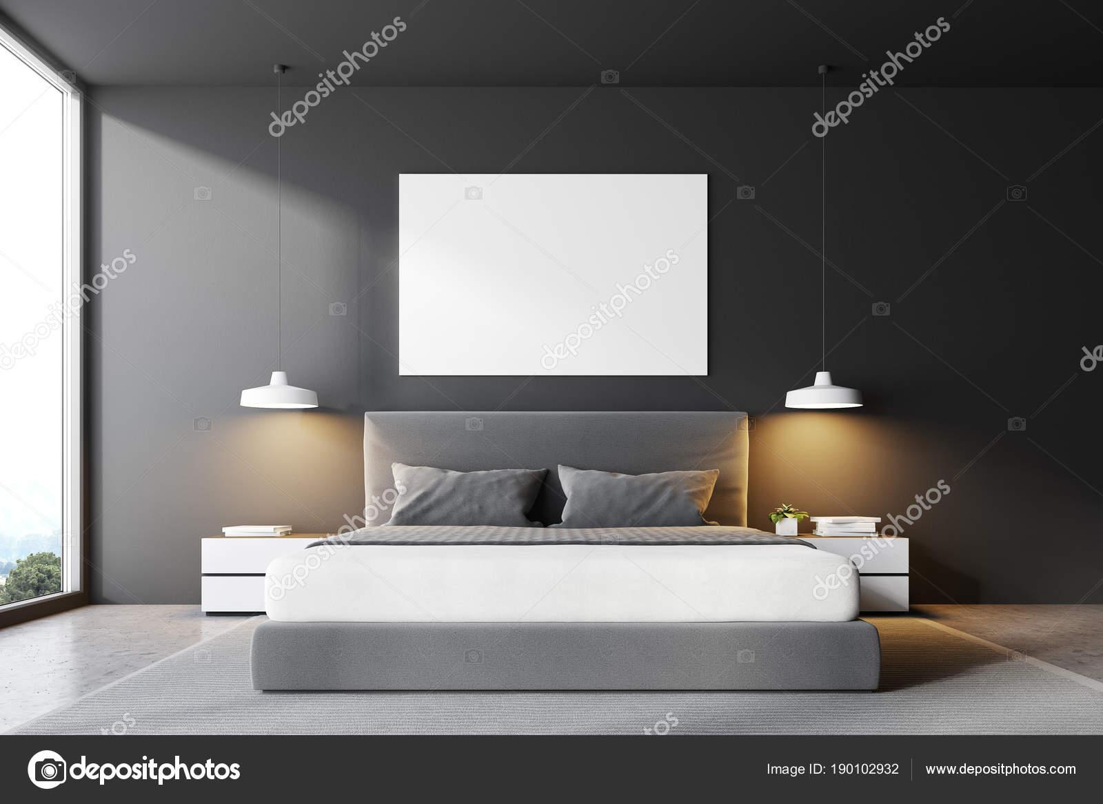 Camera da letto grigio letto vista frontale, poster — Foto Stock ...