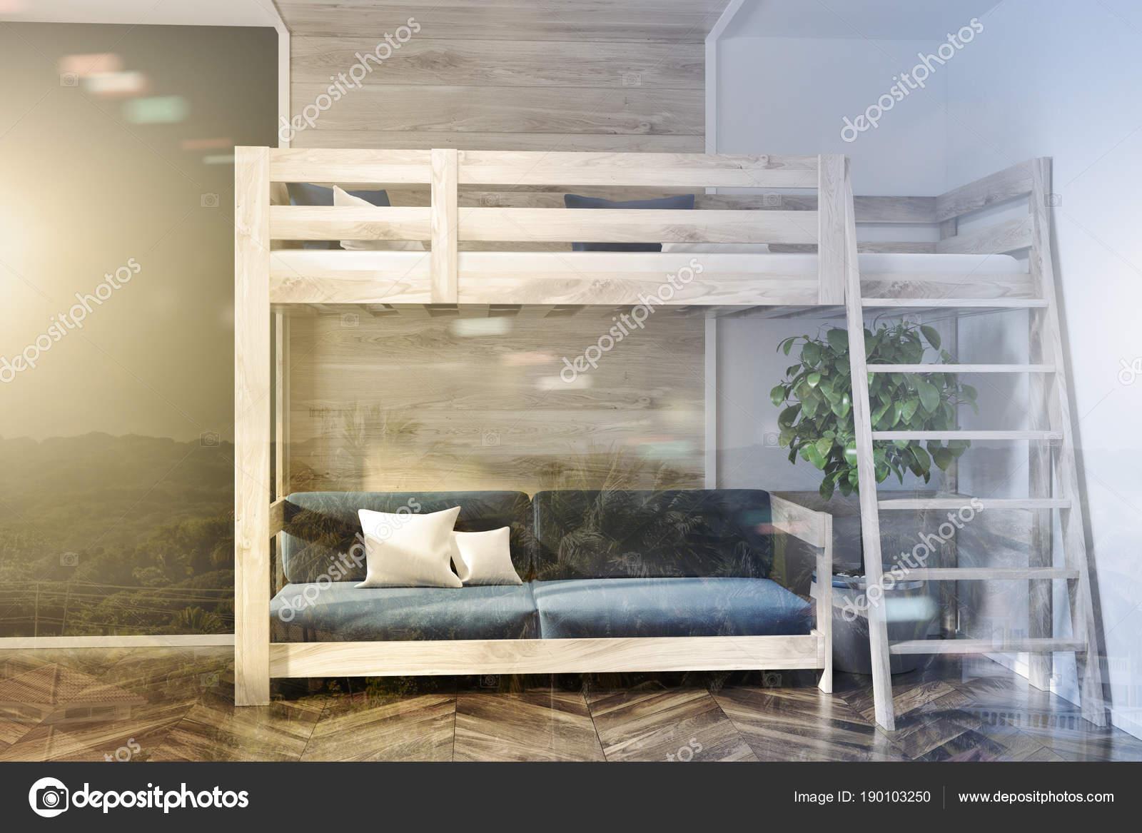 Schlafzimmer, Blau Dunkel Blaue Wand Hochbett Doppel U2014 Stockfoto
