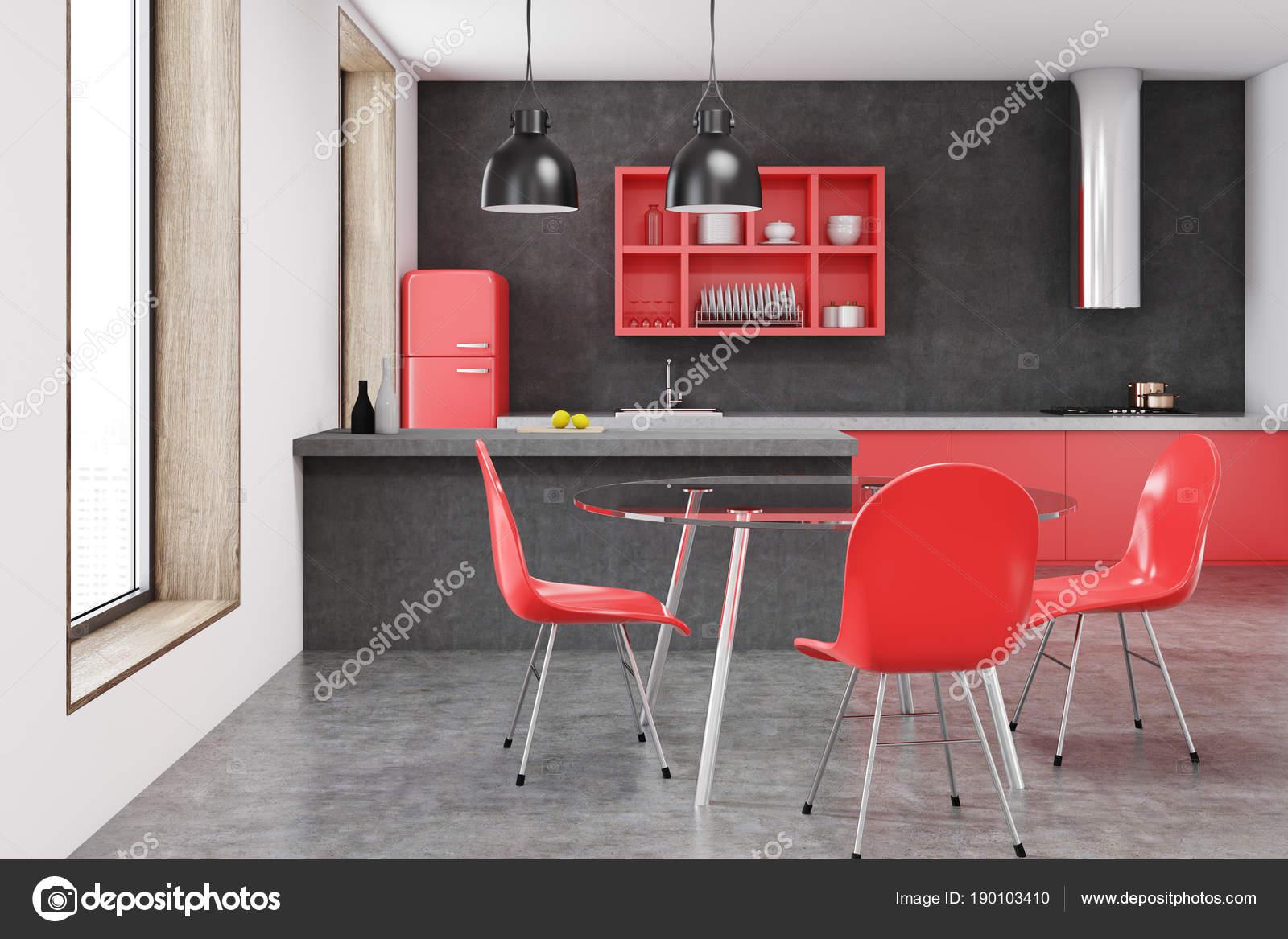 Roter Stuhl Küche Interieur, schwarze Wand — Stockfoto ...