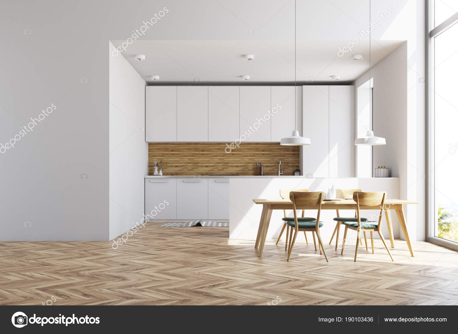 Cucina bianca e legno con un tavolo, da parete — Foto Stock ...