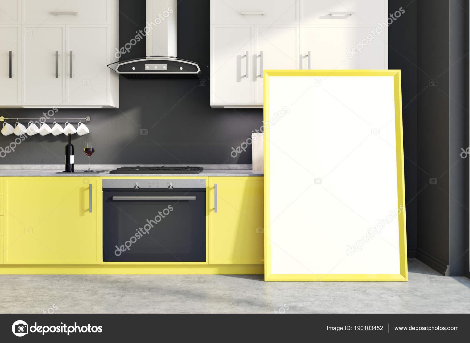 Banconi da cucina giallo muro grigio, poster verticale — Foto Stock ...