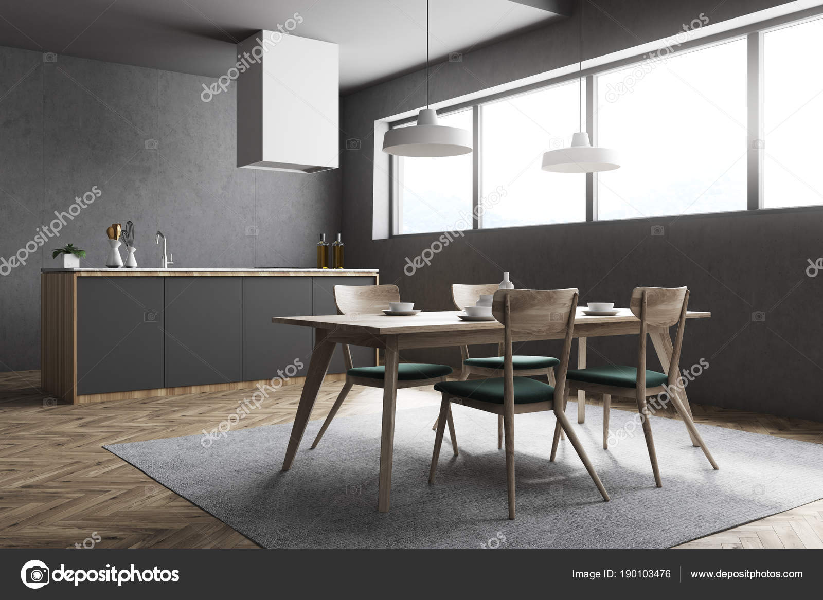 Angolo cucina e sala da pranzo grigio scuro — Foto Stock ...