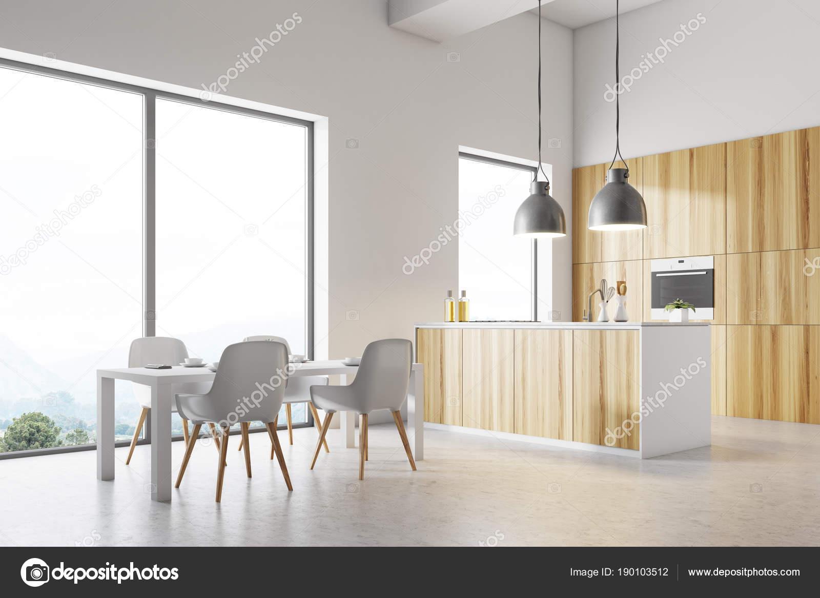 Mesa de cocina blanca esquina, blanco — Foto de stock ...