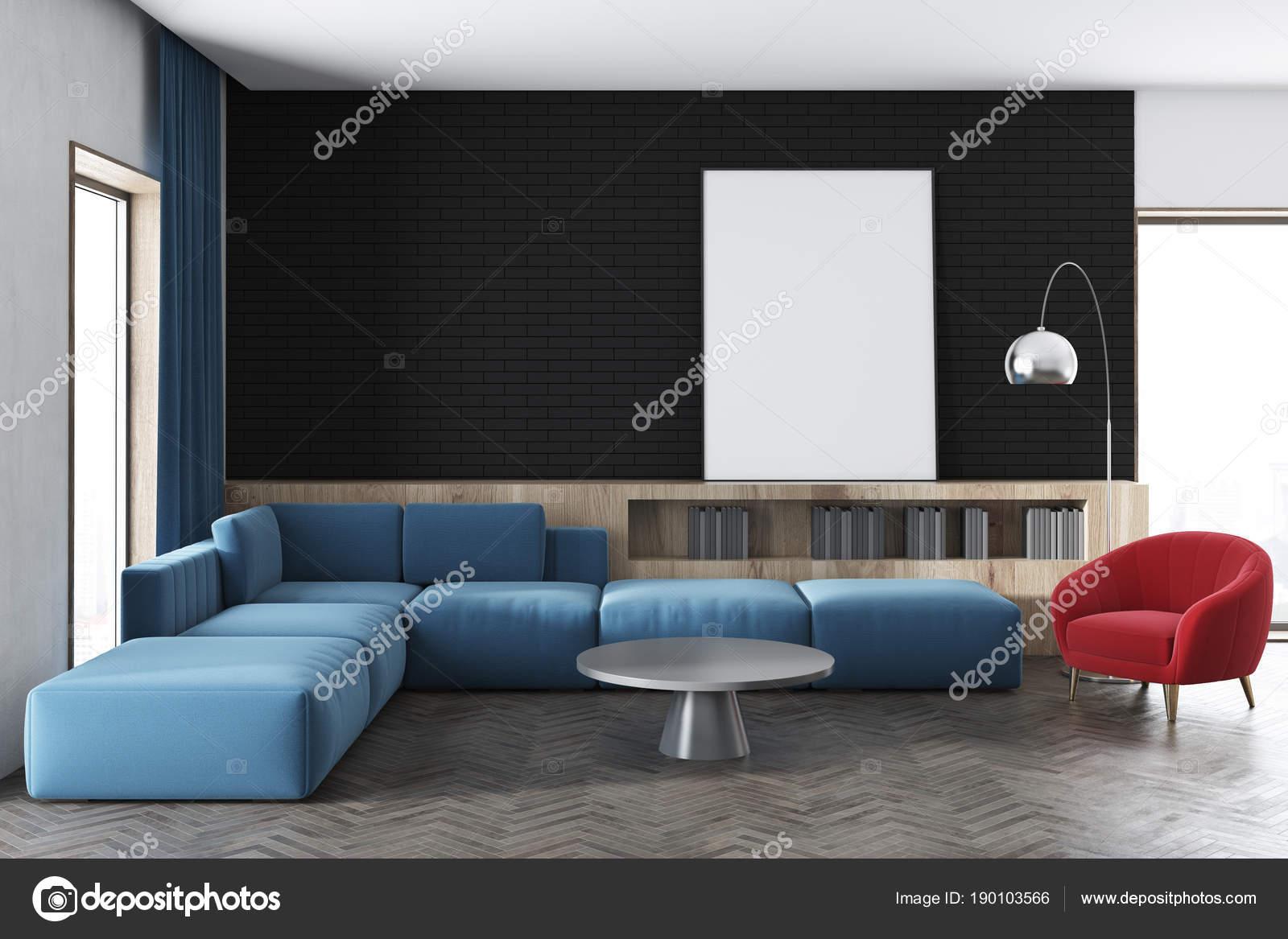 Woonkamer Zwarte Muur : Zwarte muur woonkamer blauwe sofa poster u stockfoto