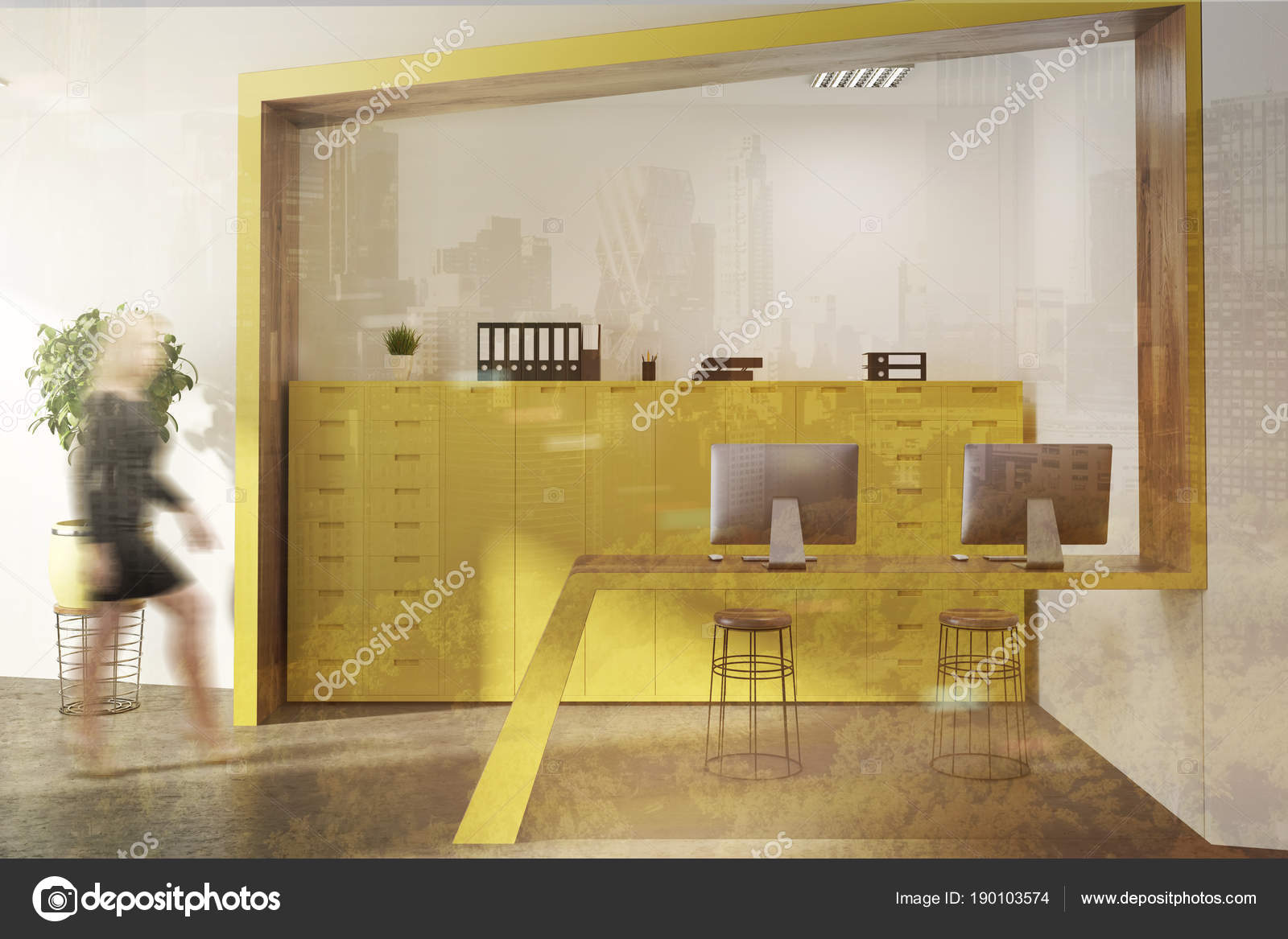 Accueil salle dattente de bureau jaune femme u2014 photographie