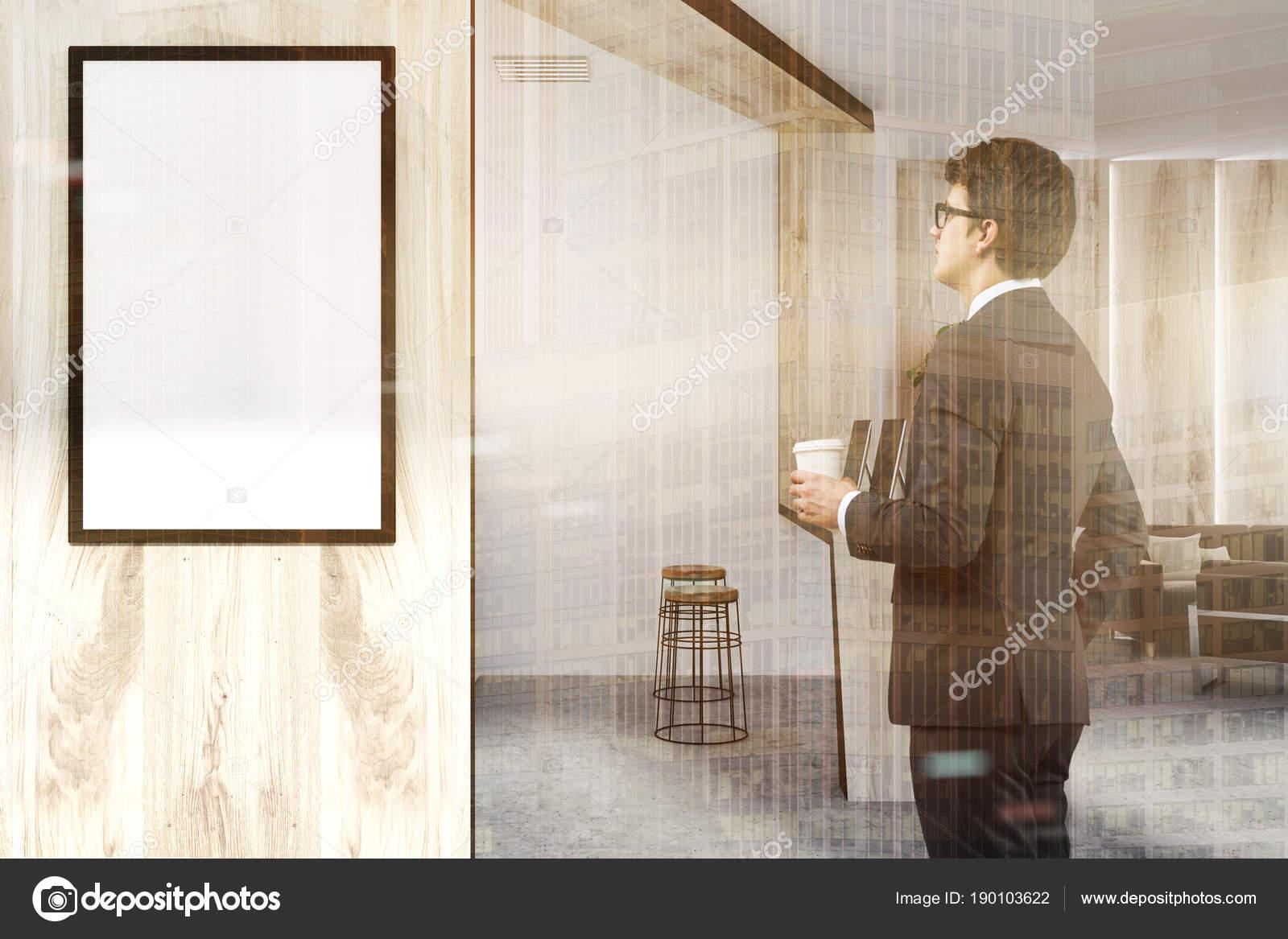 Ufficio Bianco E Legno : Uomo bianco e legno dell ufficio ricevimento manifesto lato u foto