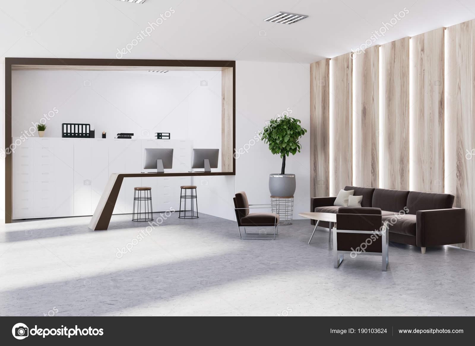 Ufficio Legno Bianco : Bianco e legno ufficio sala dattesa reception u2014 foto stock