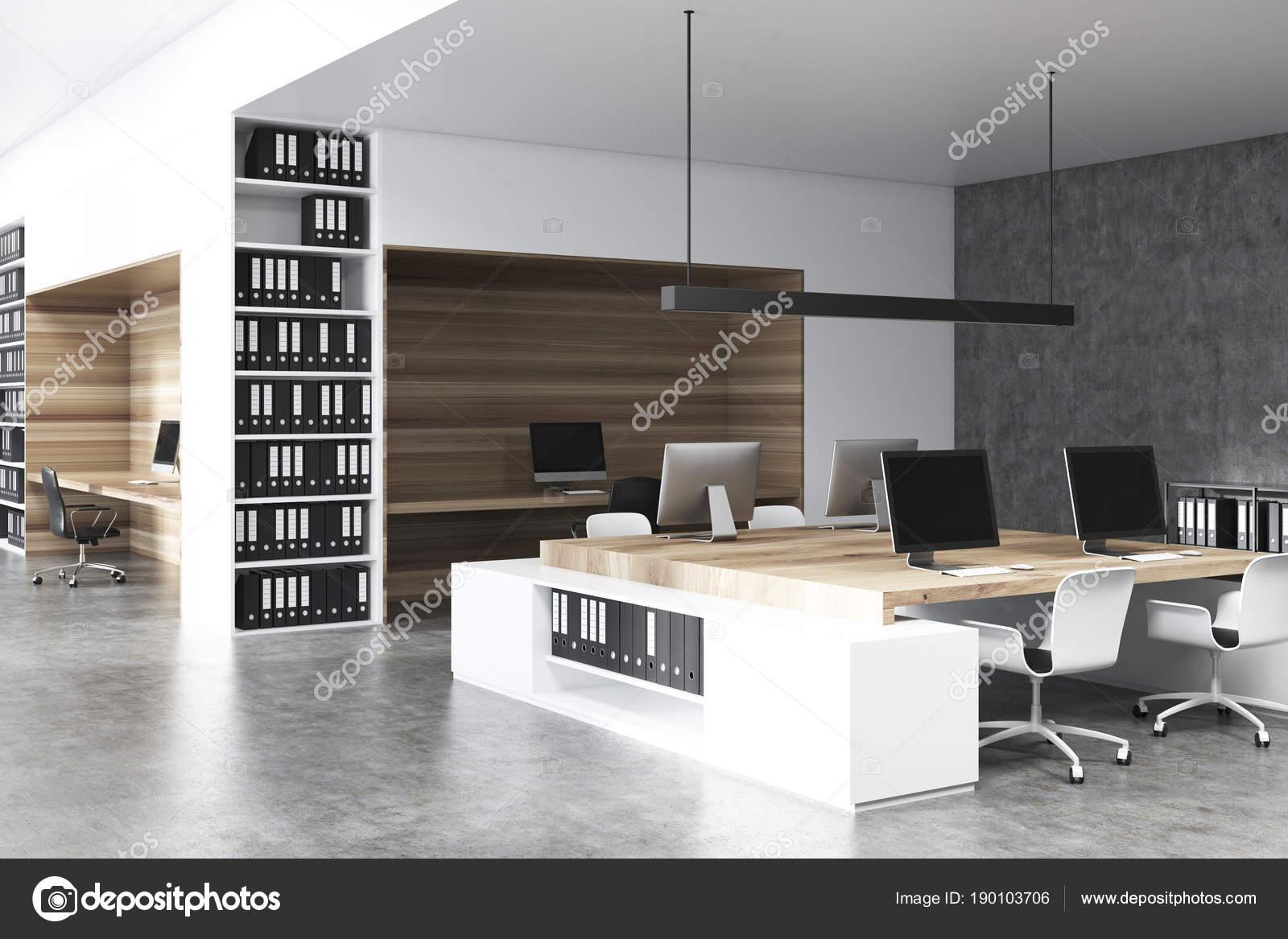 Côté intérieur béton de bureau en bois et blanc u2014 photographie