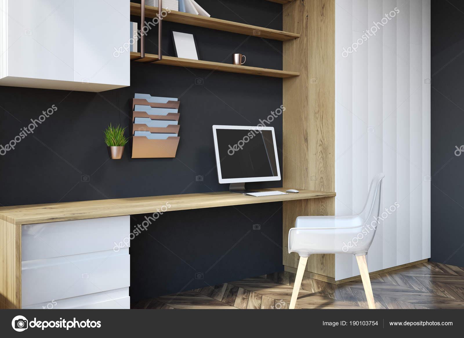 Travail de bureau noir à la maison vue latérale u photographie