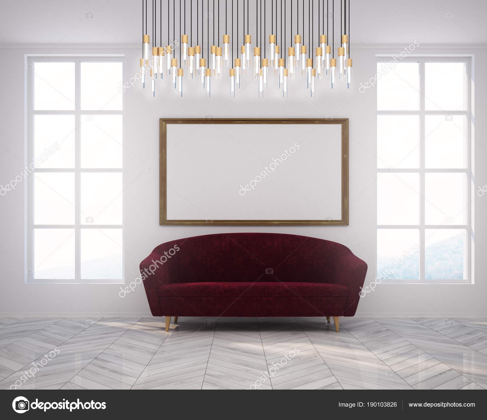 Weiße Poster Wohnzimmer Und Sofa Mit Roten — Stockfoto VzMqUSpG