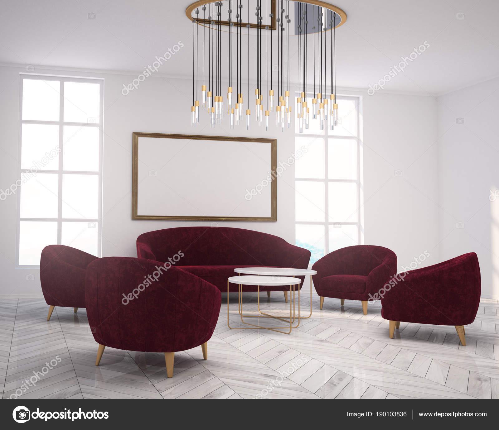 White living room corner sofa, armchairs, poster — Stock Photo ...