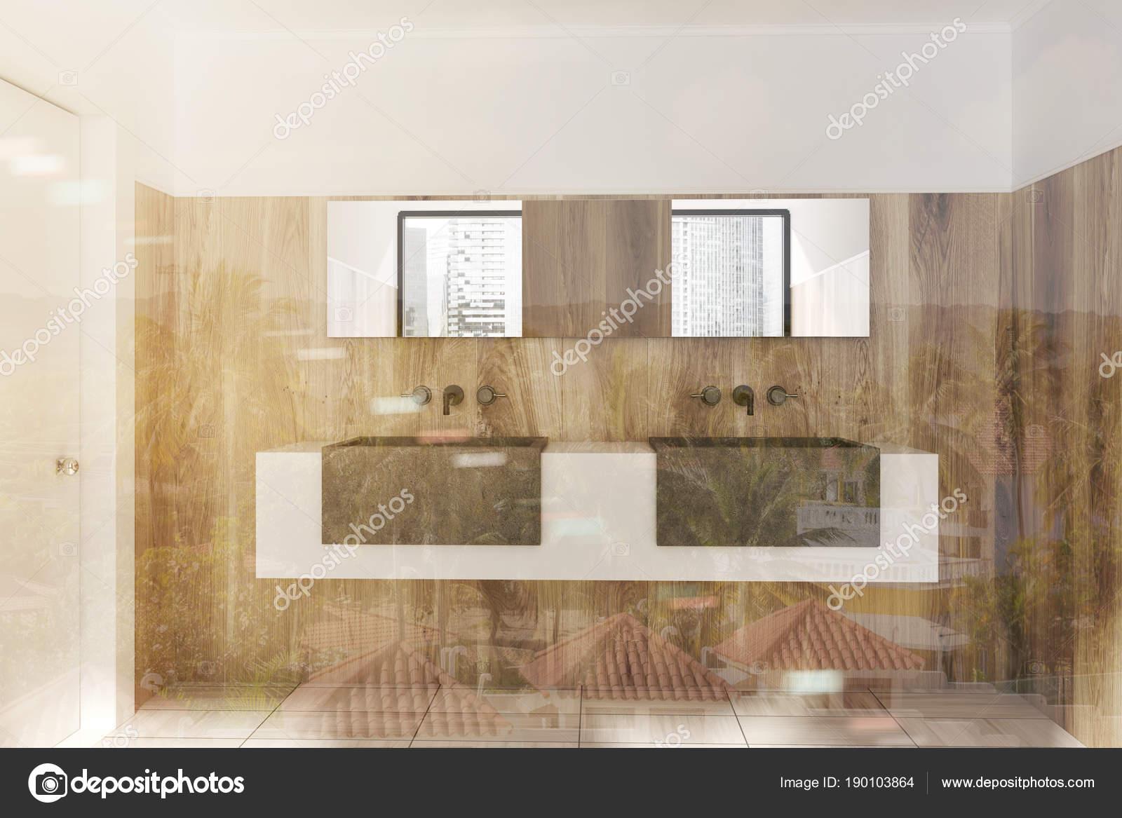 Doppel Waschbecken Stehend Auf Einem Weißen Und Grauen Regal Im Badezimmer  Holzwand Mit Einem Holzfußboden. 3D Rendering Mock Up Getönten Bild ...