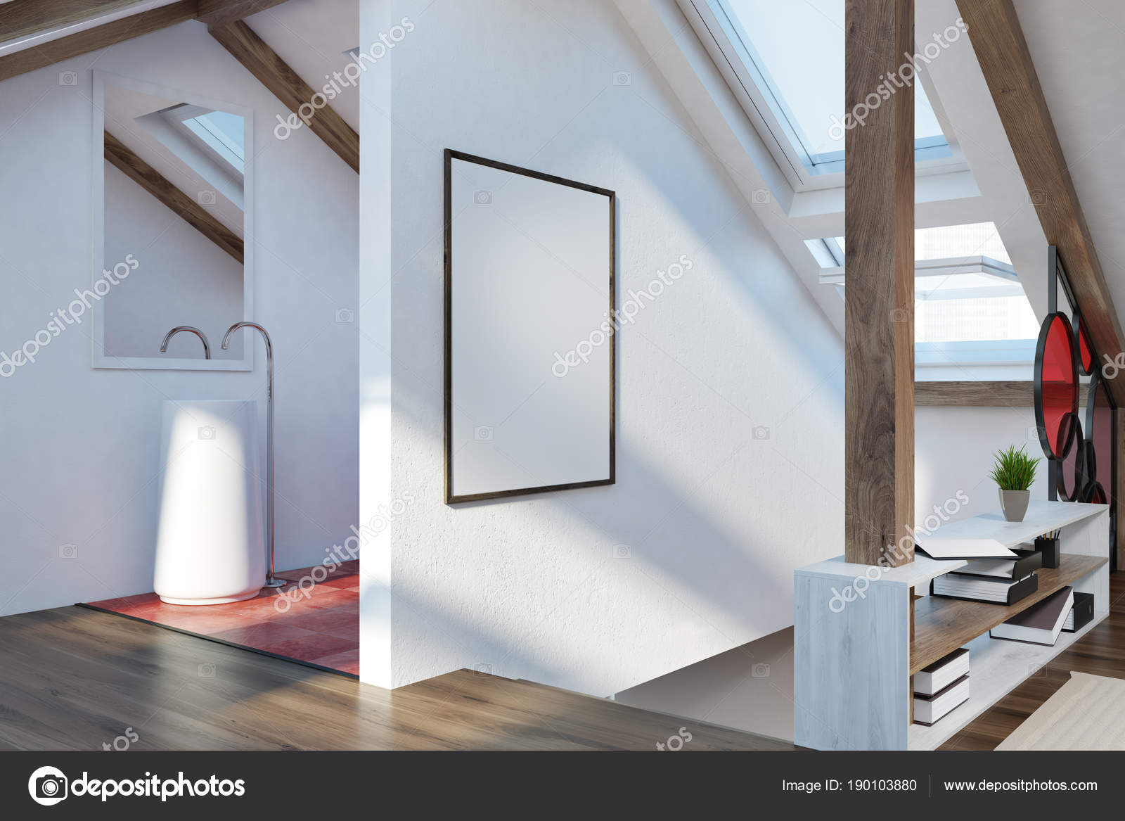 Attic badkamer interieur poster u2014 stockfoto © denisismagilov #190103880