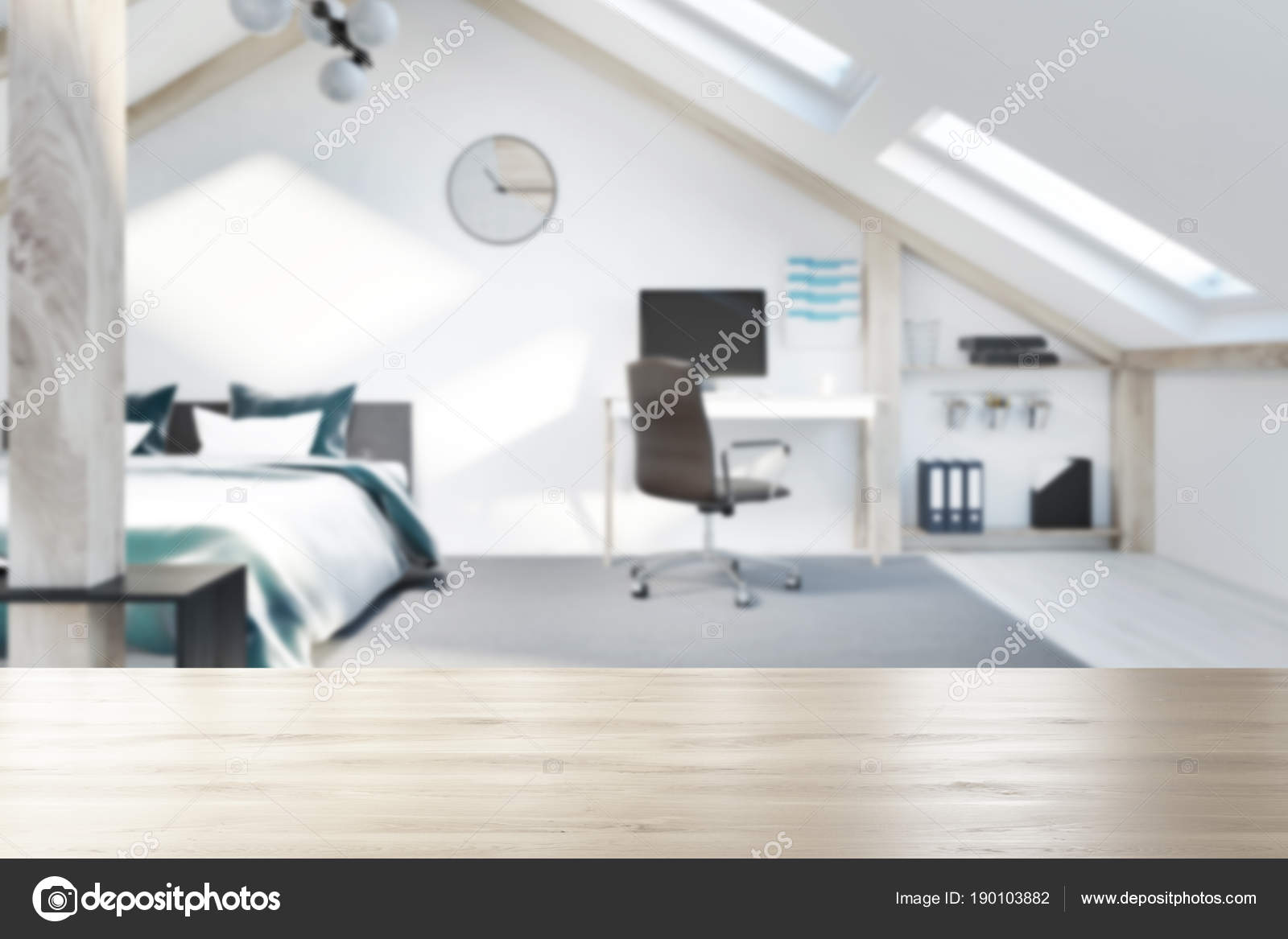 Attic bedroom and home office interior blur — Stock Photo ...