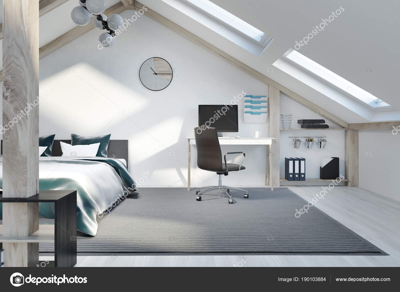 Dachgeschoss Schlafzimmer und home-Office interior — Stockfoto ...