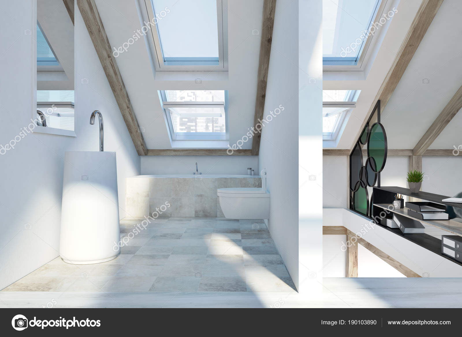 Dachgeschoss Schlafzimmer und Badezimmer Interieur — Stockfoto ...