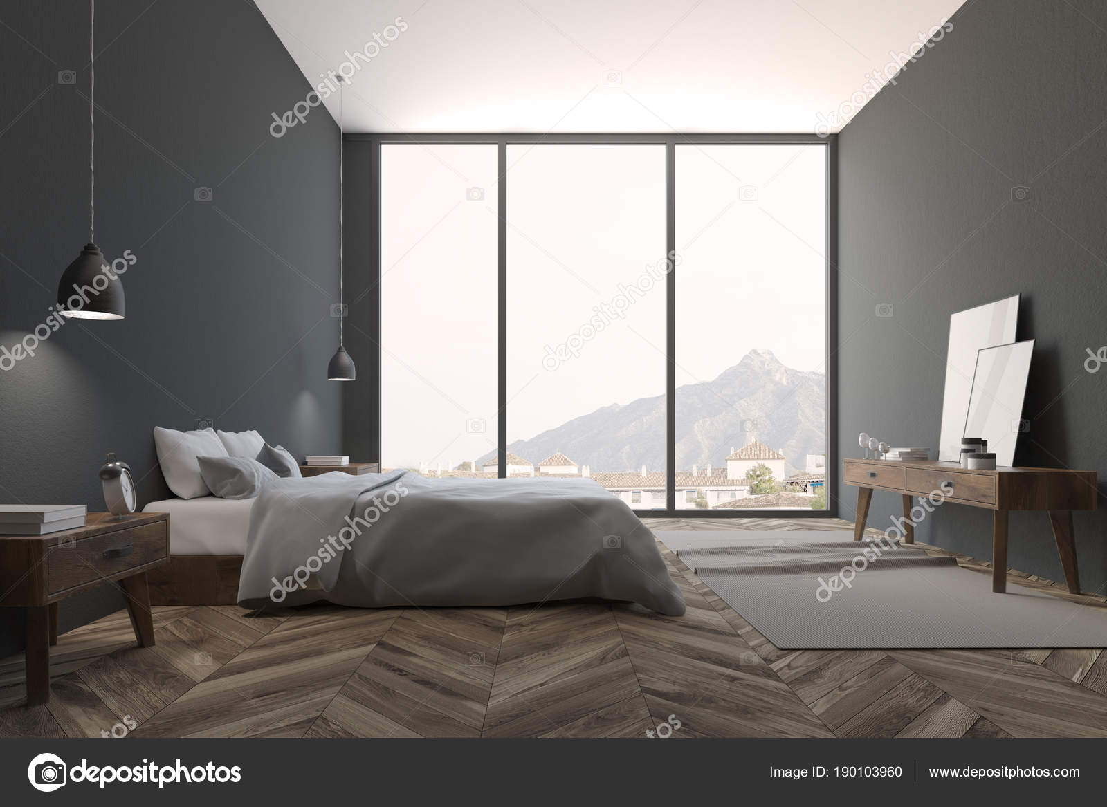 Vista laterale interno, camera da letto grigio Panoramica — Foto ...