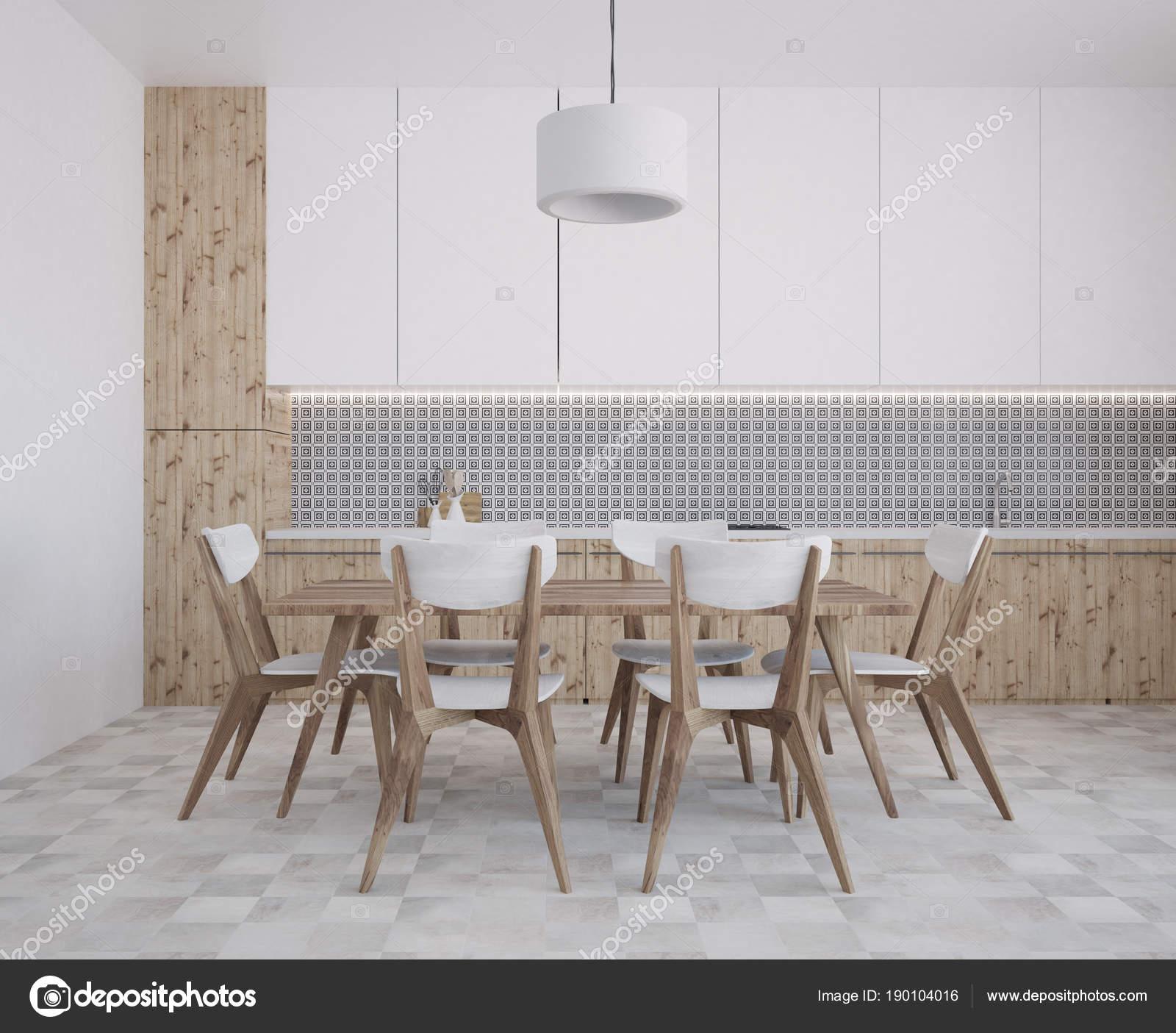 Parete grigia modello cucina e sala da pranzo — Foto Stock ...