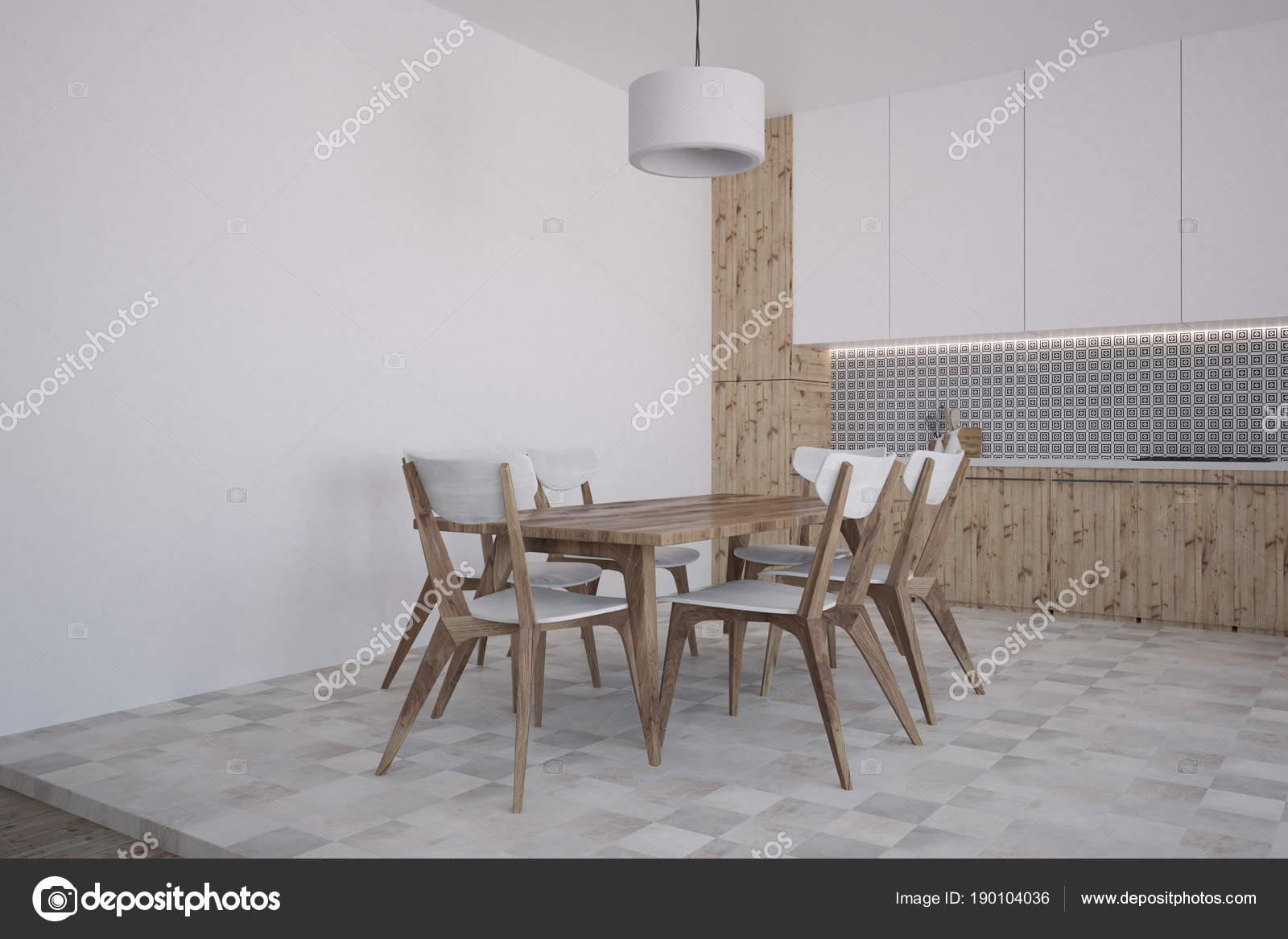 Esquina de cocina y comedor de patrón gris de la pared — Foto de ...