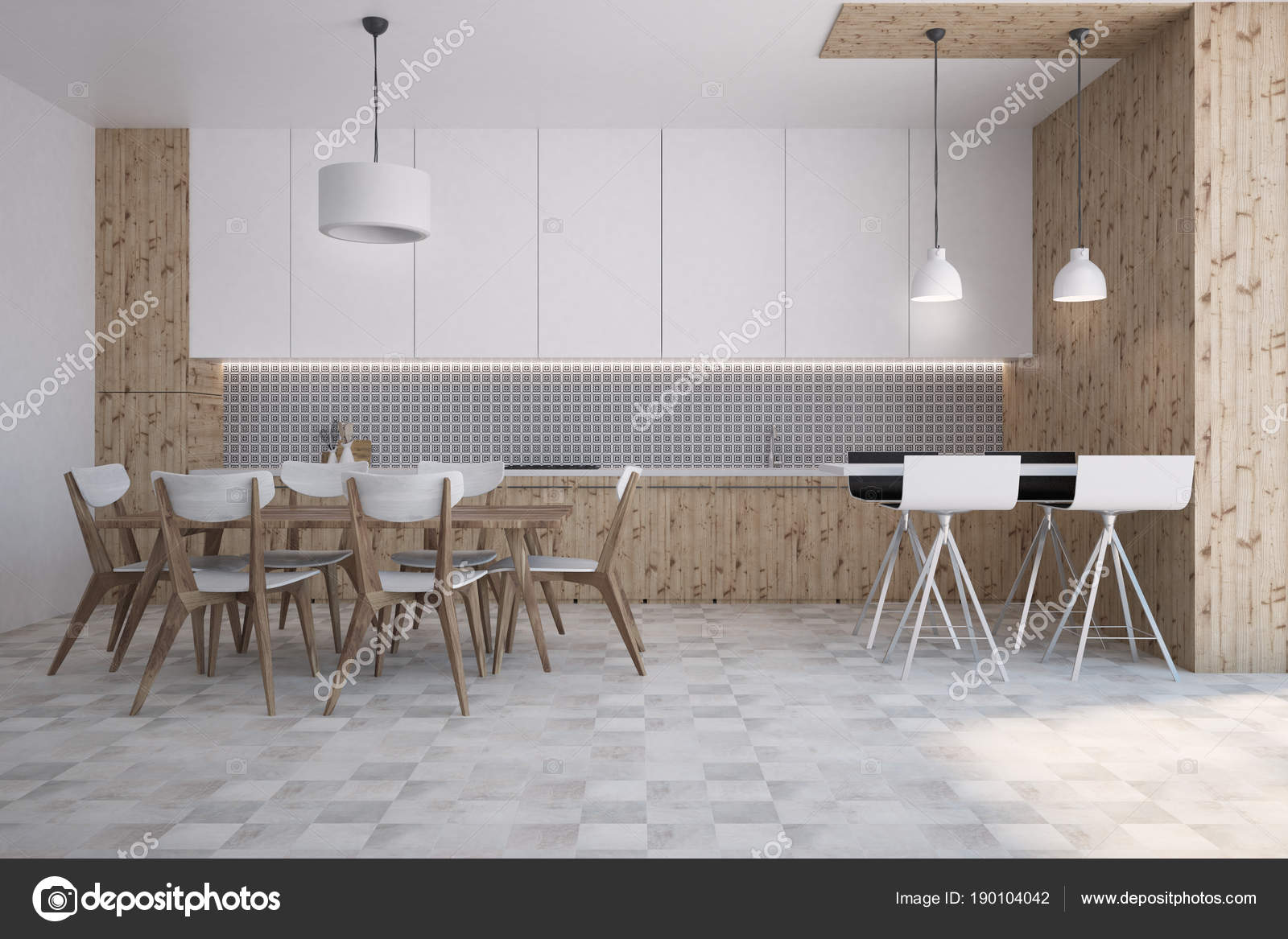 Gray Wall Pattern Kitchen And Dining Room Bar Stock Photo