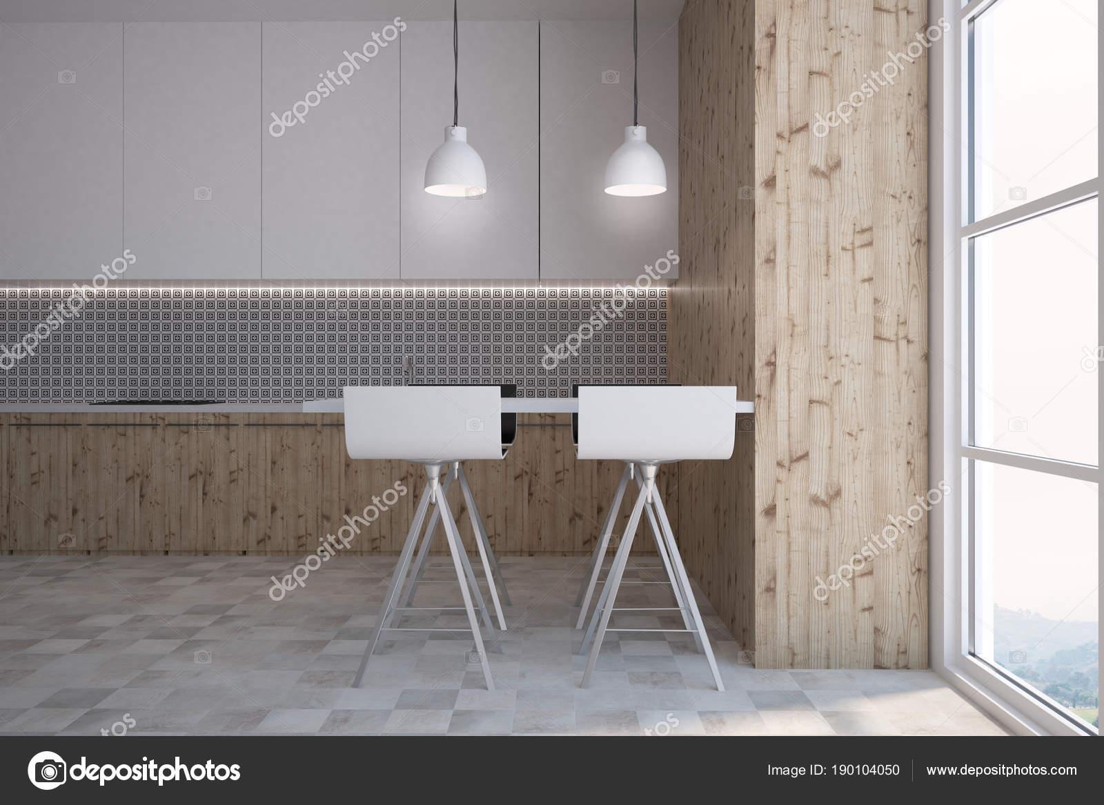 Graue Wand Muster Küche und eine Bar, Seitenansicht — Stockfoto ...