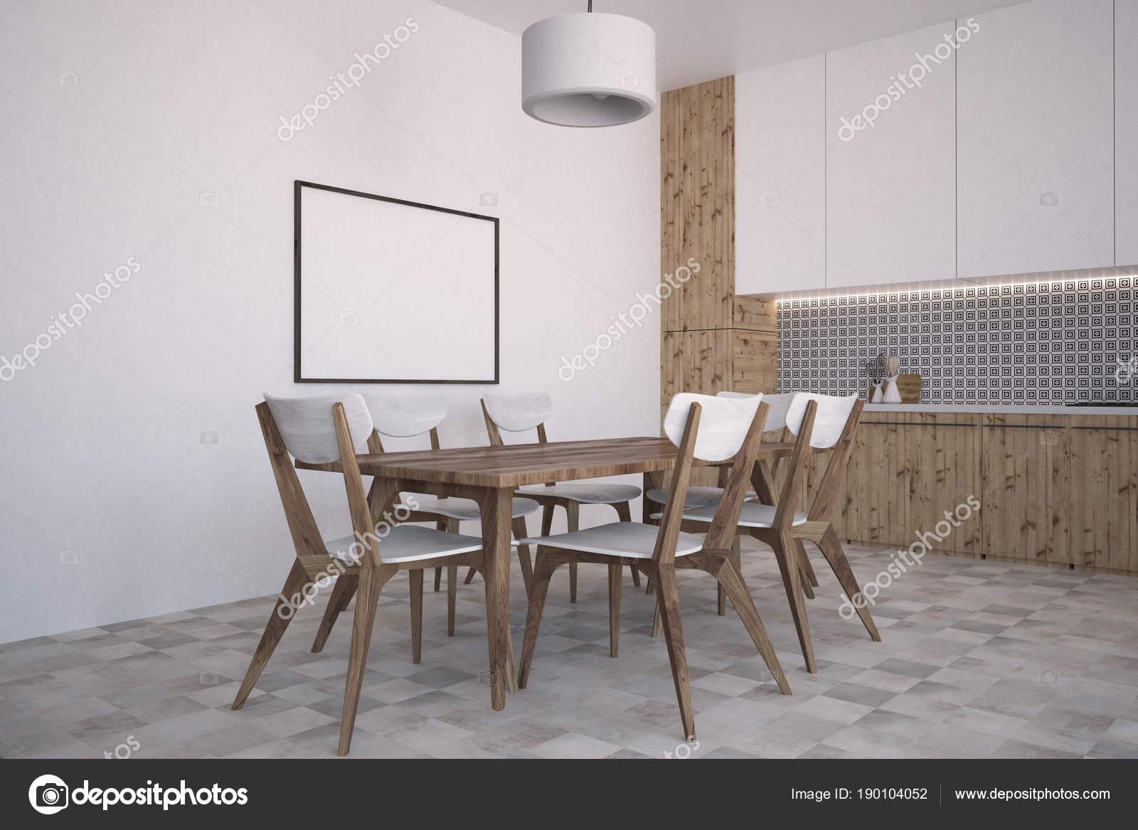 Parete grigia modello cucina e sala da pranzo, poster — Foto Stock ...