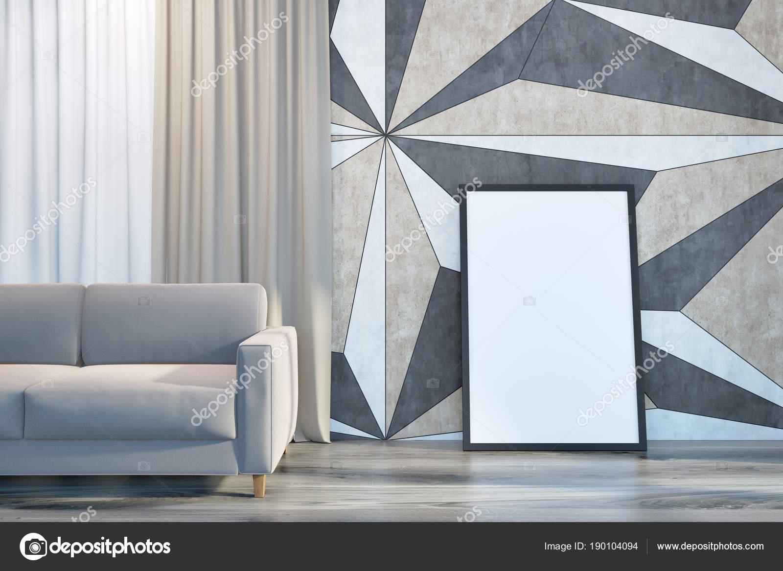 Geometrische Muster Wohnzimmer Wandinnenseite Mit Einem Holzboden Und Eine Beige  Sofa Stand In Der Nähe Ein Gerahmtes Vertikale Poster Auf Dem Boden.