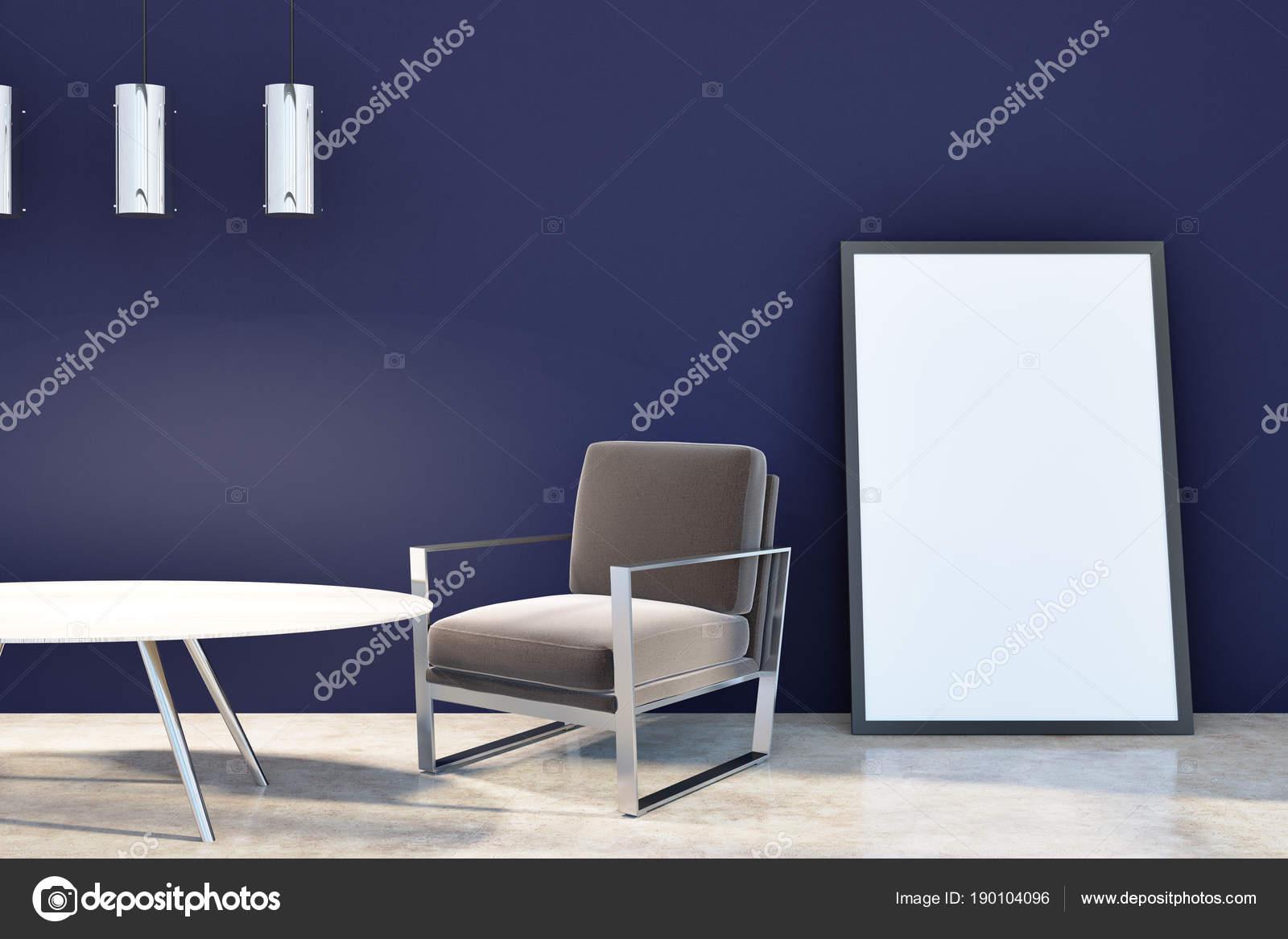 Hell Dunkel Blauen Wohnzimmer Mit Poster Stockfoto