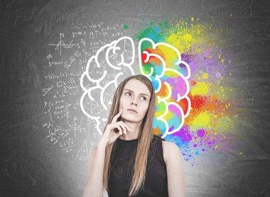 Pensive blonde woman, brain