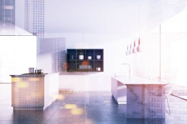 Marble table kitchen, white walls toned