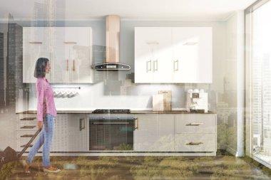 Gray kitchen interior, white gray counters toned