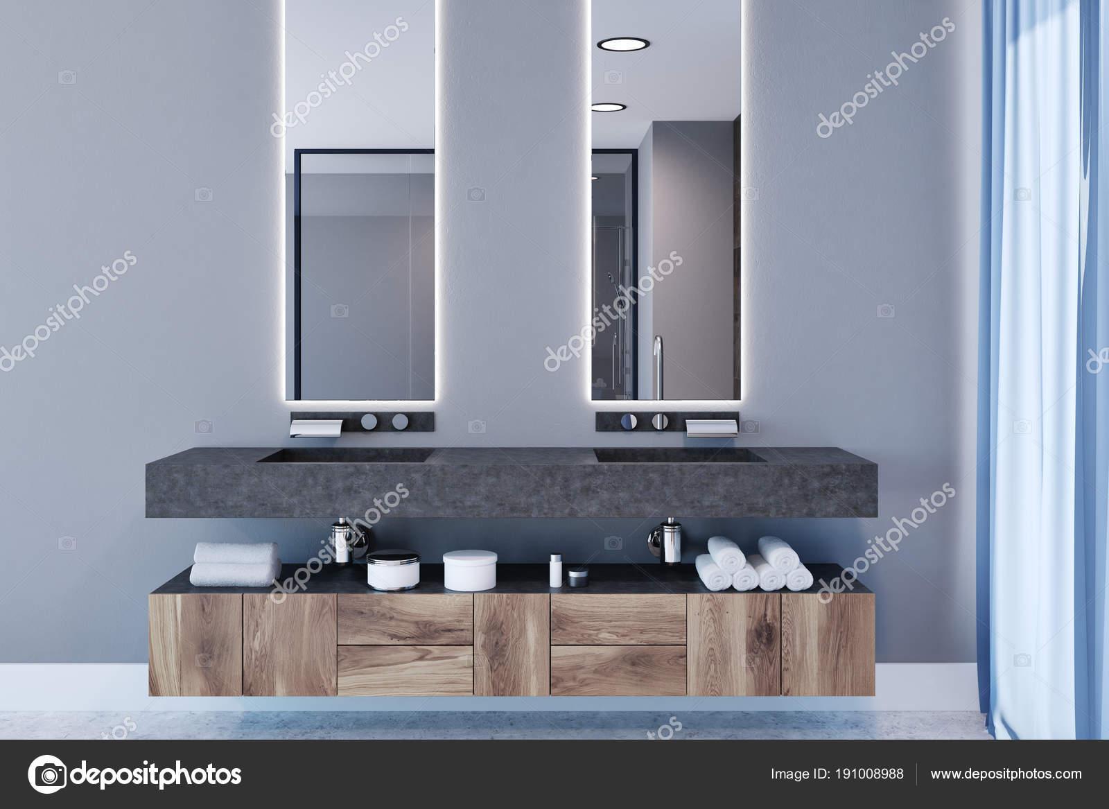 Gris intérieur salle de bain, double lavabo — Photographie ...