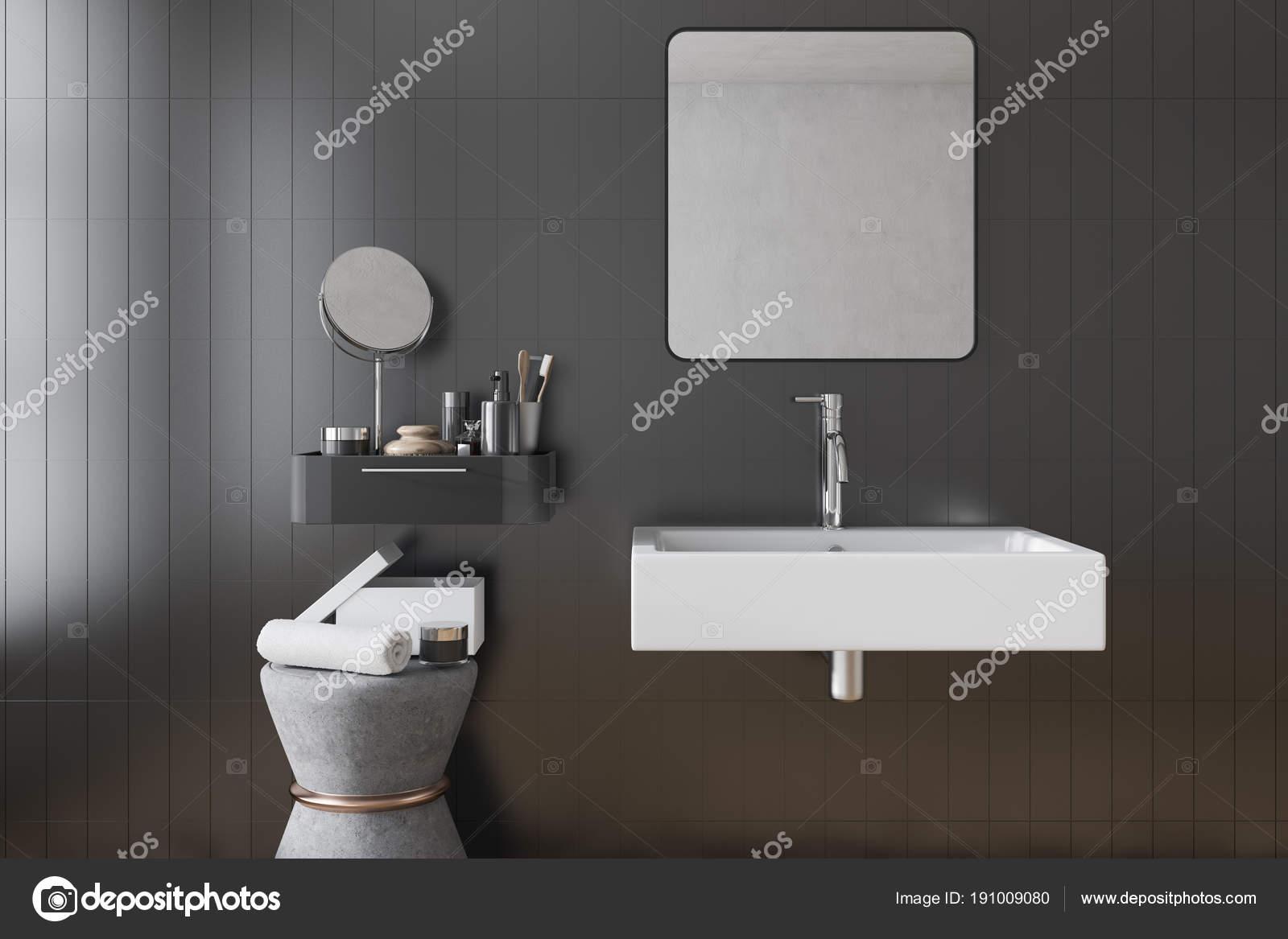 Bianco Bagno Lavandino Con Uno Specchio Quadrato Appeso Sopra Di Esso In Un  Bagno Piastrellato Nero. Un Make Up Specchio E Mensola. Rendering 3D U2014 Foto  Di ...