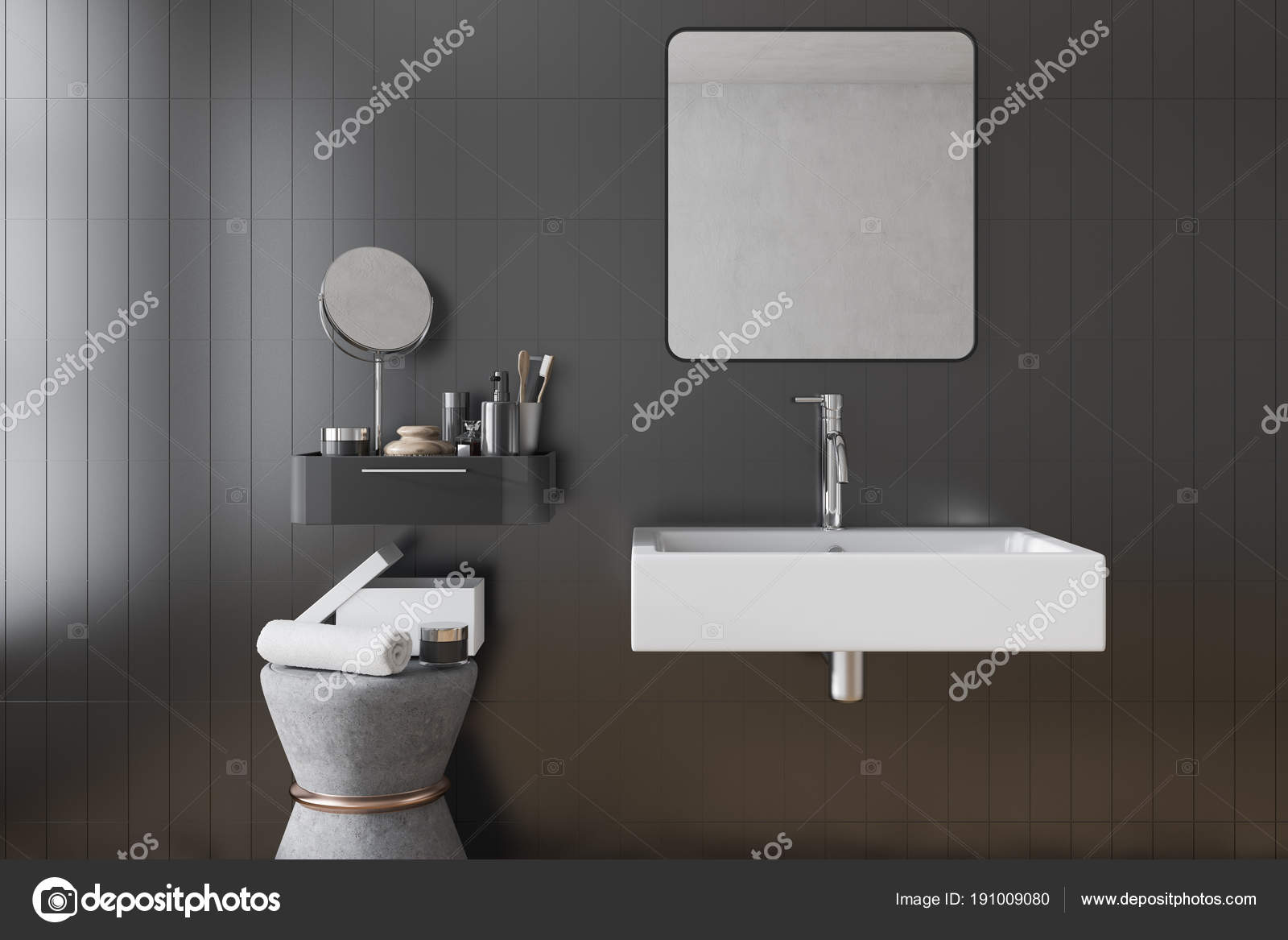 Zwarte vierkante badkamer wastafel interieur tegels u2014 stockfoto