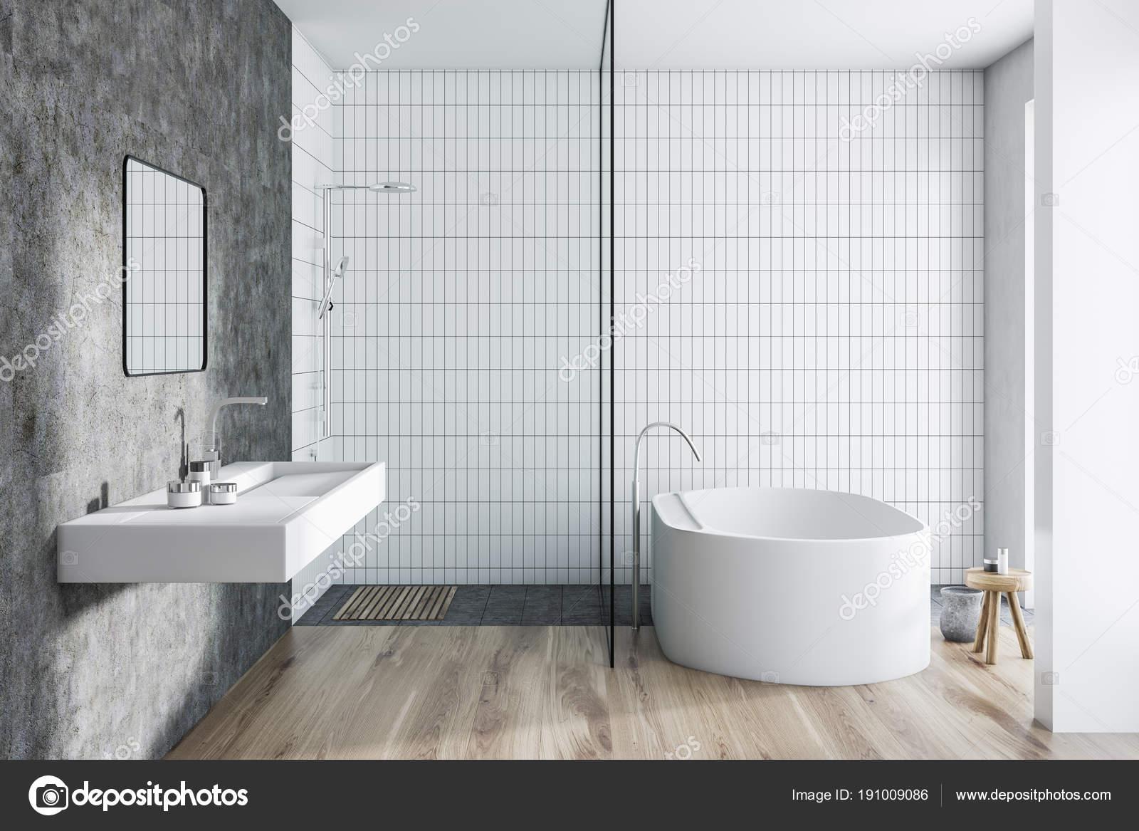 Weiße Fliesen Badezimmer Interieur — Stockfoto © denisismagilov ...